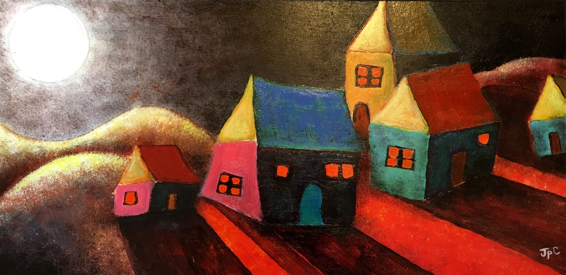 HI RES moon across land house painting