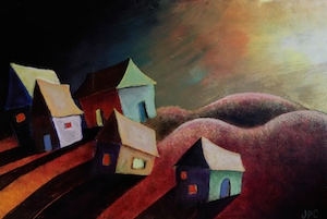 web house with shadows painting copy